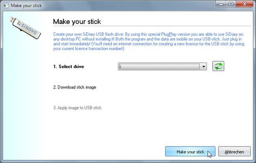 SiDiary on USB-Stick